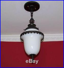 164 Vintage Colonial Brass Glass Pendant Light 1 of 6 kitchen porch hall entry