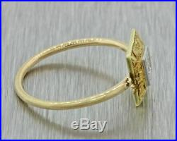 1920s Antique Art Deco 14k Solid Yellow Gold. 04ct Diamond Square Shape Ring
