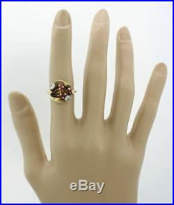 1930s Antique Art Deco 14k Solid Yellow Gold. 20ct Diamond Ruby Cocktail Ring