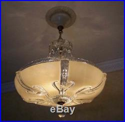358 40's Vintage Antique Ceiling Light Lamp Fixture Glass Chandelier Re-Wired