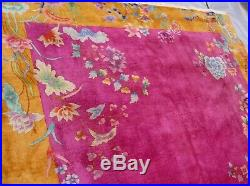 ANTIQUE ART DECO CHINESE HAND KNOTTED WOOL ORIENTAL RUG 8'8 x11'4