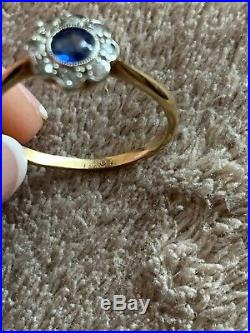 Antique Art Deco 18ct Gold Sapphire And Diamond Cluster Ring