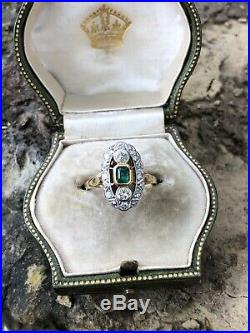 Antique Art Deco 18ct Yellow Gold Emerald and Diamond Navette Ring Band