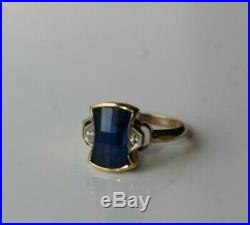 Antique c. 1940's Art Deco Fully Faceted Sapphire & 10k Gold Ring Size 6.25