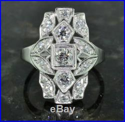 Art Deco 3 Ct Round Diamond Antique Cocktail Engagement Ring 14k White Gold Over