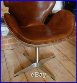 Aviation Brown Leather & Metal Chair Dining / Desk Use
