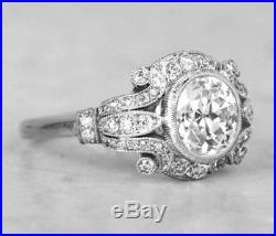 Certified 1.80Ct White Round Cut Diamond Antique Art Deco Ring in 14K White Gold