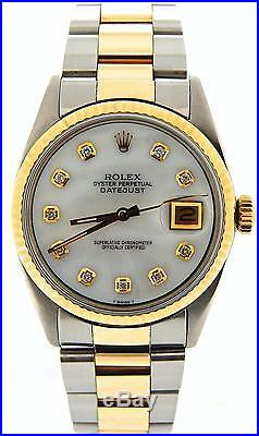 Mens 2Tone Rolex Gold / Stainless Steel Datejust withWhite MOP Diamond Dial 1601