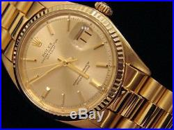 Mens Rolex Solid 18k Yellow Gold Datejust WithGold Plated President Style Bracelet