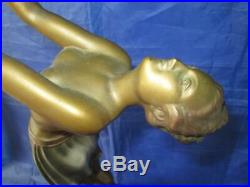 Original Art Deco 1920`s Figural Nude Lady Lamp with Tiered Marble Base