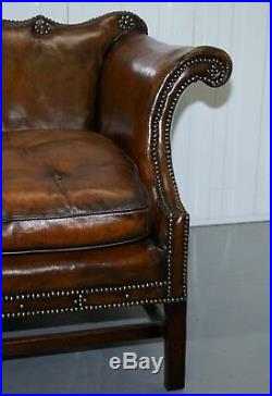 Rare Restored Camel Back Chippendale Buttoned Chesterfield Sofa Brown Leather