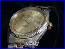 Rolex Datejust Mens 2Tone Gold & Stainless Steel Jubilee Champagne 1601