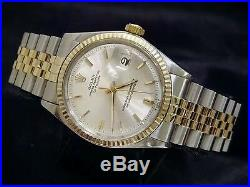 Rolex Datejust Mens 2Tone Gold / Stainless Steel Jubilee with Silver Dial 1601