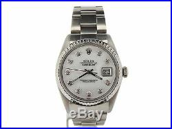 Rolex Datejust Mens Stainless Steel Watch Oyster with White MOP Diamond Dial 1603
