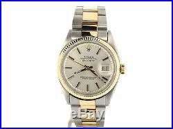 Rolex Datejust Mens Yellow Gold Stainless Steel Oyster Fluted Silver 1601
