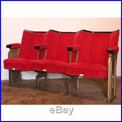 Row of Three Art Deco C1930s Vintage Cinema Theatre Seats Chairs with Aisle Ends