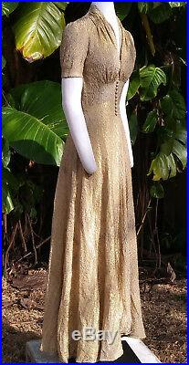 VINTAGE GOLD LAME EVENING GOWN/ DRESS c. 1930s WEARABLE