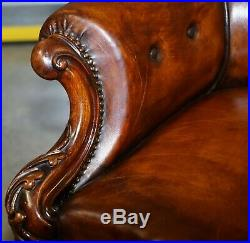 Victorian Show Frame Carved Acanthus Walnut & Brown Leather Restored Armchair
